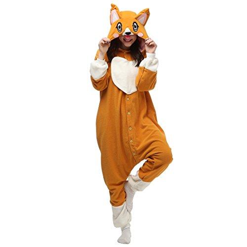 Casa Pyjama Tieroutfit Schlafanzug Tier Onesies Sleepsuit mit Kapuze Erwachsene Unisex Overall Halloween Kostüm Jumpsuit (M, Hund)