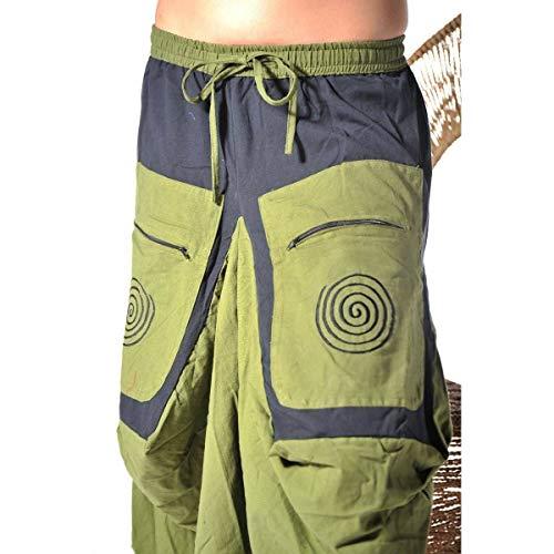 Rock Mittelalter Maxirock Hippie Goa Psy Strandrock Sommerrock Unterrock Gummizug Freizeit Jupe Color Grün, Size L/XL - 4