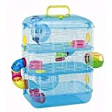 HAMSTER CAGE NEON LEO 3 APARTMENT GERBIL MOUSE PINK AND BLUE