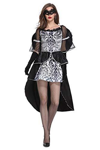 Fallen Angel Costume Women Black Dress Halloween Costume with Angel Wing Cosplay Kostüm Damen (Fallen Angel Halloween Kostüme)