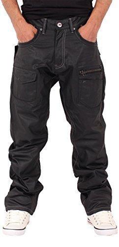 g-king-mens-boys-star-black-coated-loose-fit-jeans-baggy-is-time-money-hip-hop-gk031-w42-l34