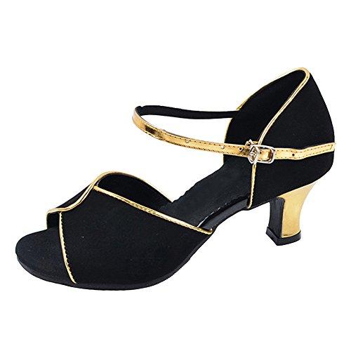 Scarpe da ballo da ballo latino da donna con tacco a punta svasata Outdoor Oro Edge