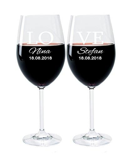 2 Leonardo Weingläser mit Gravur des Namens und Motiv Love Wein-Glas graviert Hochzeit Geschenkidee