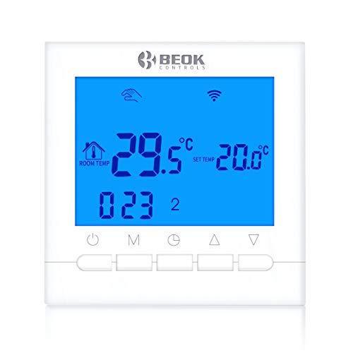Beok BOT-313 WiFi-Thermostat Für Gaskessel, Programmierbar, LCD-Raumthermostat, Stromversorgung, Online-Steuerung über Smartphone, AC220V 3A, Blau,Packung mit 1 -