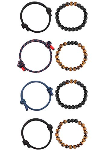 Milacolato Tiger Eye Stein Perlen Armband für Männer Distanz Nautisch Geflochtenes Armband Navy Rope String Elastic 4PCS -