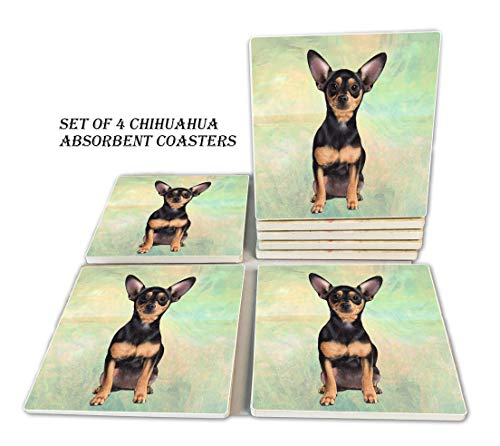 Chihuahua Untersetzer - feuchtigkeitsabsorbierender Steinuntersetzer mit Korkboden, verhindert Möbel vor Schmutz und Kratzern; Stein-Untersetzer-Set, geeignet für Tassen und Tassen, 4 Stück -