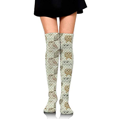 OQUYCZ Womens Cool Looking Owls Different Shapes and Sizes Drawing Style Sketch Pattern Print Soft High Boot Socks