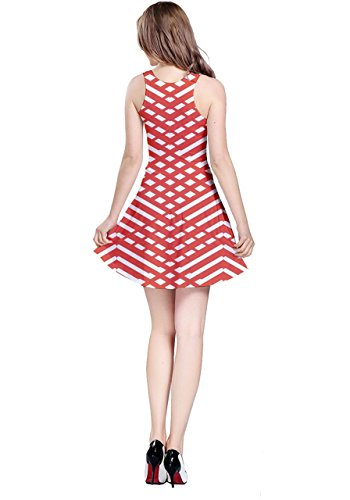 CowCow - Robe - Femme Colorful Chevron rouge/blanc