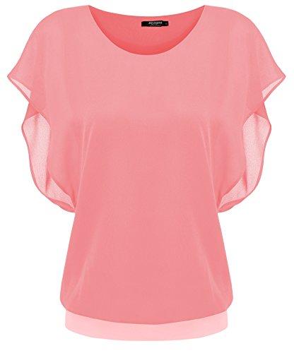 Zeagoo Damen Sommer Casual Loose Fit Kurzarm Fledermaus Batwing T-Shirt Shirt Chiffon Top Bluse, EU 40(Herstellergröße:L), Hellrot