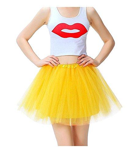 Mangotree Damen Tütü Minirock Organza Pettiskirt 3 Layers Petticoat Tanzkleid Unterrock Perfekt für Fasching