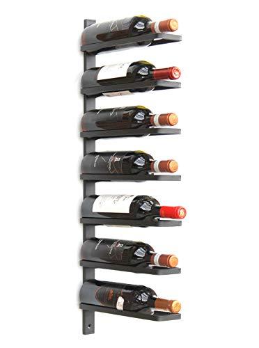 Dandibo 93885 - portabottiglie da parete, in metallo, per 7 bottiglie, colore: nero