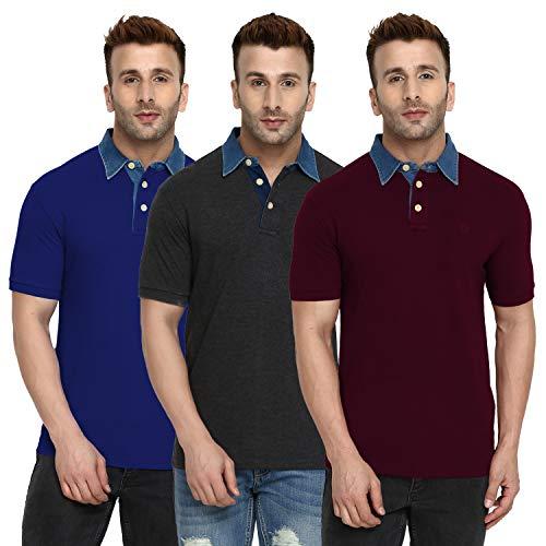 CHKOKKO Cotton Denim Collar Polo Half Sleeve T Shirts for Men Combo Pack of 3 L Size Maroon Dark Grey Royal Blue