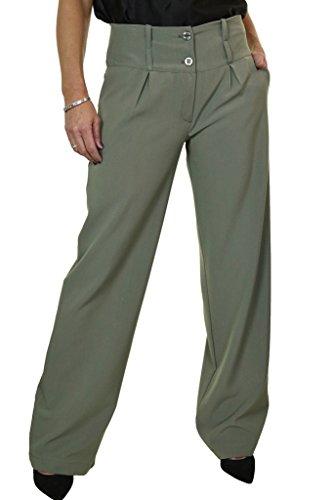 ICE (1272) Onorevoli gamba larga smart soft Città pantaloni Verde