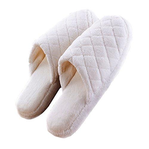 Unisex Adulto caldo e morbido cotone casa pantofole scarpe by V. point-coffee White 3