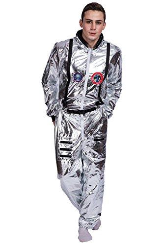 Herren Astronaut Kostüm Weltall Raumfahrer Anzug Spaceman Overall Outfit Jumpsuit Cosplay Silber (Spaceman Anzug Kostüme)