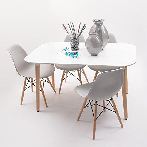 Conjunto de Comedor de diseño nórdico NORDIK-MAX con Mesa lacada Blanca de 130x80 cm y 4 sillas (Gris Claro)