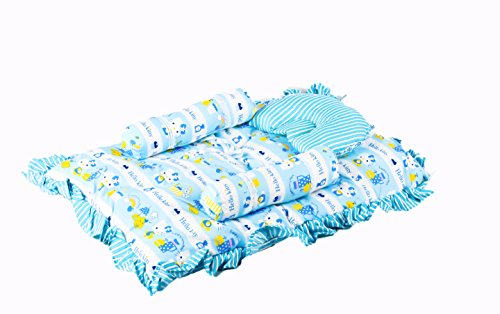 Baybee Jumbo Bed with Neck Pillow and Bolsters (Blue)
