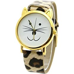 *UK* CUTE CAT FACE WRIST WATCH with GOLD-TONE EARS and LEOPARD SPOTS STRAP! KITTEN KITTY