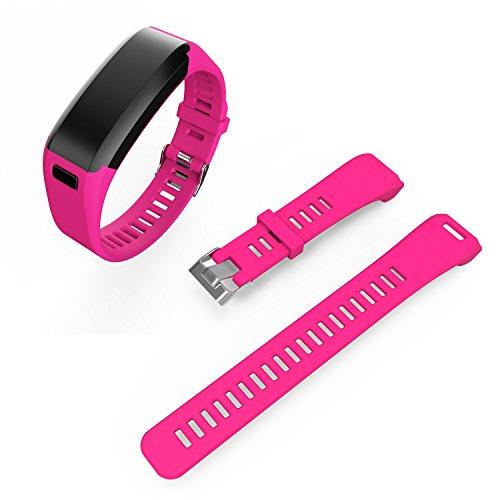XIHAMA Ersatzarmband Band für Garmin Vivosmart HR, Weiches Silikon Atmungsaktives Sport Fitness Armband mit Schraubendreher(hot pink)