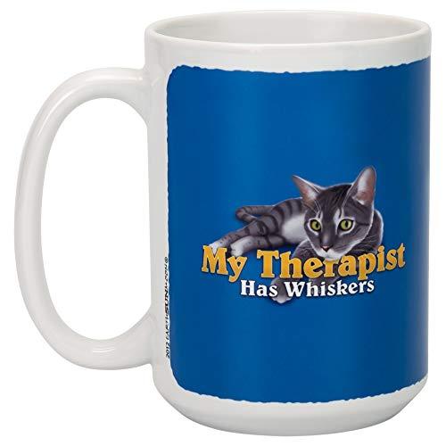 My Therapist Hat Schnurrbarthaare Cat Cobalt Blau 15Unze Keramik Tasse
