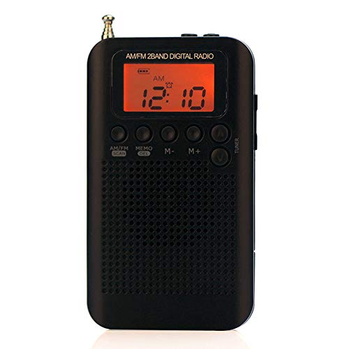 Docooler HRD-104 Tragbares AM/FM Stereo Radio Pocket 2-Band Digital Tuning Radio Mini-Empfänger Outdoor-Radio mit Kopfhörer Lanyard 1,3 Zoll LCD-Display
