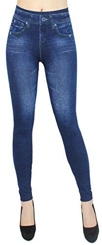 High Waist Leggings Damen Hose Jeggings in Jeans Optik Ideal für Frühjahr Sommer - OneSize Gr.36-42 - JL078 (JL0077-OneSize Gr.36-40)