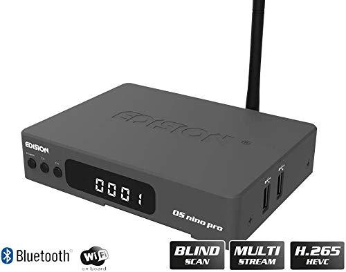 EDISION OS NINO PRO Full HD Linux E2 Combo-Receiver H.265/HEVC (1x DVB-S2/X, 1x DVB-T2/DVB-C, Multistream, Blind Scan, WLAN onboard, Bluetooth onboard, 2X USB, HDMI, LAN, Linux, Kartenleser) (Grau) (Optisches Audio-kabel Combo)
