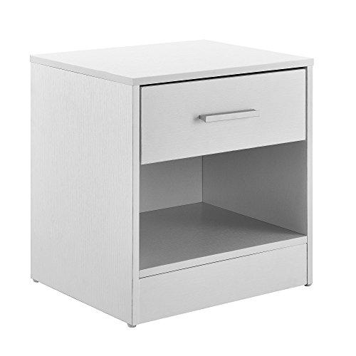 [en.casa]® Mesilla de noche elegante blanca moderna 1 cajón & 1 balda...