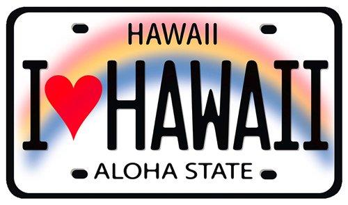 Autoaufkleber mit Hawaiianischem Motiv - I Heart Hawaii License Plate