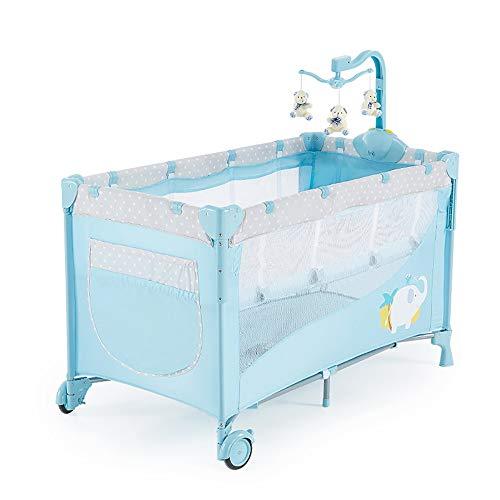 ZRWZZ Kinderbett Bedside Sleeping Crib Game Tragbare Krippe Green Plastic Crib Große Klappkrippe wild Kinderbetts Sheet Seite Universal Wheel Atmungsaktives Mesh Kinderbetten (Color : Blue) (Stoßstange Karussell)