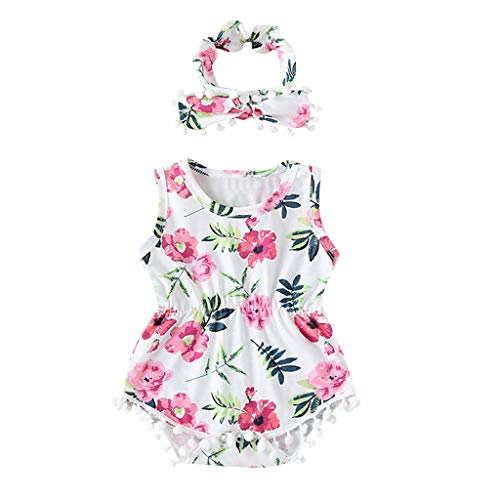 Overall Baby Sommer Toddler Sleeveless Tassel Floral Print Hair Band Romper - Big Hair Kostüm