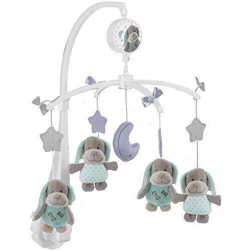 #11 Musikmobile mit niedlichen Hunden zum Aufziehen - Baby Mobile Spieluhr Babybett Musik Laufgitter Babyzimmer Kinderbett