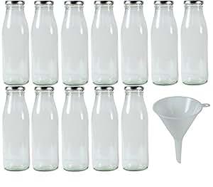 Viva Haushaltswaren - 12 x Weithals-Glasflasche 500 ml mit silberfarbenem Schraubverschluss, als Milchflasche, Saftflasche & Smoothieflasche verwendbar (inkl. Trichter Ø 12 cm)