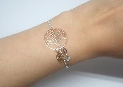 Bracelet arbre de vie feuilles or rose gold argenté améthyste violet mariage cérémonie baptême perles verre de Bohême idée cadeau femme création Odacassie