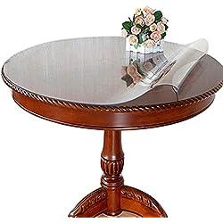 Ever Fairy Nappe de Table Ronde en PVC imperméable Transparent Nappe en Plastique Transparent, Thick 2mm, Dia.100cm