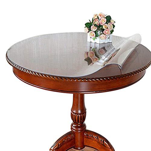 Ever Fairy Runde Transparente PVC-Tischdecke Wasserdicht Kunststoff Transparent Tischdecken Tischunterlagen Schreibtischunterlagen Wasserdicht Schutz Maßgeschneiderte Größe, Thick 2mm, Dia.60cm
