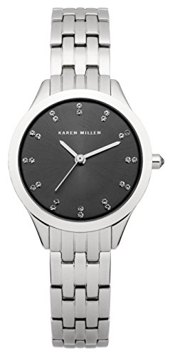 Karen Millen Women's Quartz Watch with Grey Dial Analogue Display and Silver Stainless Steel Bracelet KM127SM