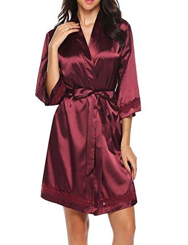 Kimono Satin-gürtel (HOTOUCH Damen Bademantel Morgenmantel Kimono Kurz Schlafanzug Nachtwäsche Satin V Ausschnitt mit Gürtel Weinrot M)