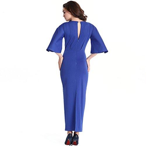 WanYang Femmes Vintage Long Bodycon Cocktail Crayon Robe Manche Crayon Moulante Robe De Soirée De Fête De Mariage Bleu