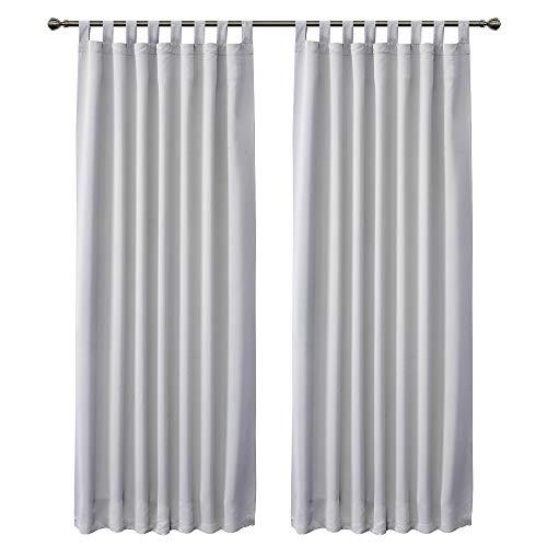 FLOWEROOM Verdunklungsvorhänge Blickdicht Vorhang mit Schlaufen für Wohnzimmer, 245 x 140cm (HxB) Grau weiß, 2 Stück
