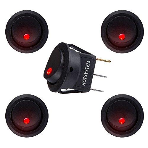 HOTSYSTEM Interruptor basculantes 12V STSP,con luz de LED,diseño ojo de gato para instalar vehiculo,barco ect,color de luz rojo x 5 unidades