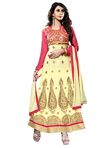 Manthan Cream & Pink Embroidered Semi Stitched Lehenga Cum Anarkali Suit MNTRNJ70003  available at amazon for Rs.929