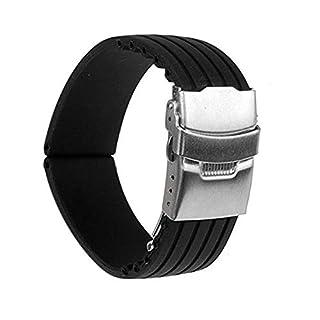 NiceButy 22mm silicone rubber strap strap deployment buckle waterproof black