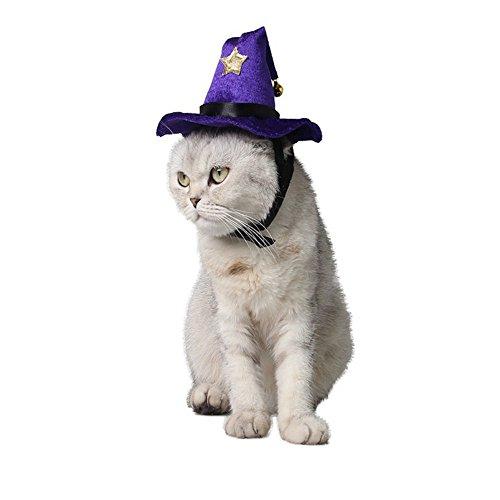KurzDE Katzenmütze Katzenhut Halloween-purpurroter Hexe-Hut Hund Mütze Lila für Halloween Katzen Hunde kleiner Haustier (Elegante Hexe Hut)