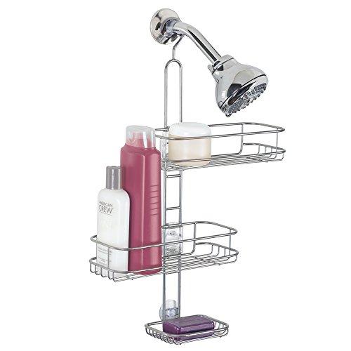 mDesign Serviteur de douche à suspendre – Installation de l'étagère de douche sans perçage – Panier de douche en métal inoxidable à accrocher pour tous les accessoires de douche (Shampoings, etc.)
