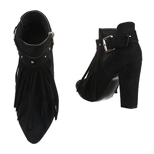 Damen Schuhe High Heels Schlupfstiefel Reißverschluss High Heel Stiefeletten Stiefeletten Pump Schwarz