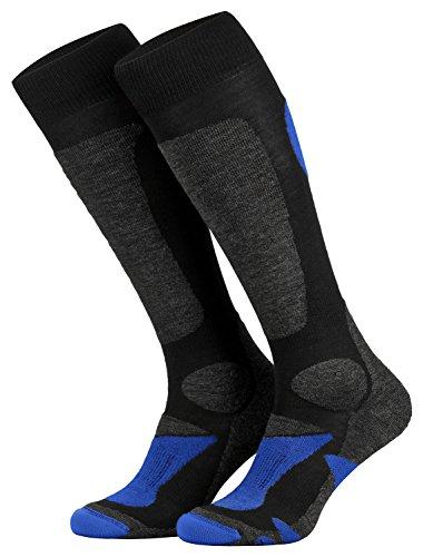 Piarini 2 Paar Unisex Skisocken Skistrumpf Herren, Damen und Kinder für Wintersport, Snowboard atmungsaktive Knie-Strümpfe Farbe Schwarz-Blau Gr.47-50