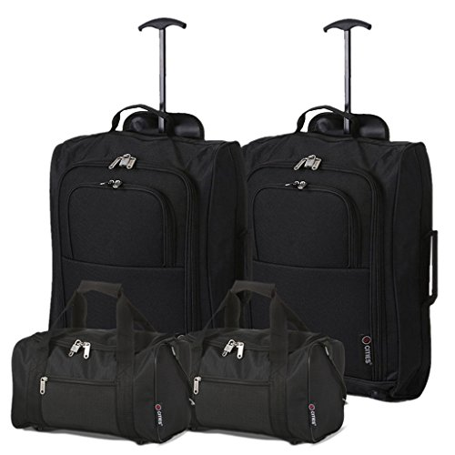 Ryanair Cabine 35x20x20 & Valise 55x40x20 - Emmenez Les Deux! (Noir/Noir)