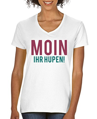 Comedy Shirts - Moin ihr Hupen! - Damen V-Neck T-Shirt - Weiss / Fuchsia-Türkis Gr. XXL