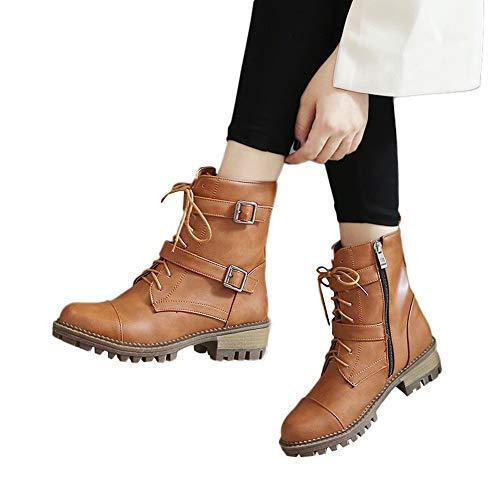 OSYARD Damen Ankle Stiefeletten Schnürer Kurze Booties Lederstiefel Zipper Biker Boots, Frauen Schuhe Lace-Up Shoes Einfarbig Schnalle Round Toe Boots Stiefel(260/43, Gelb)
